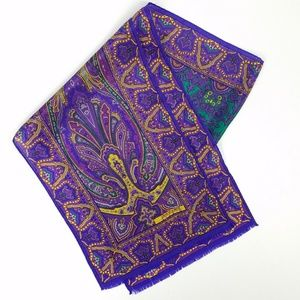 Vintage Oscar de la Renta Purple Silk Scarf